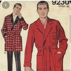 1950s mens red bathrobe